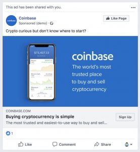 Coinbase Requires $20 Billion Prime Client, Ads Based on Facebook