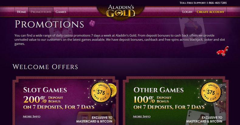 Aladdin's Gold Casino Screenshot