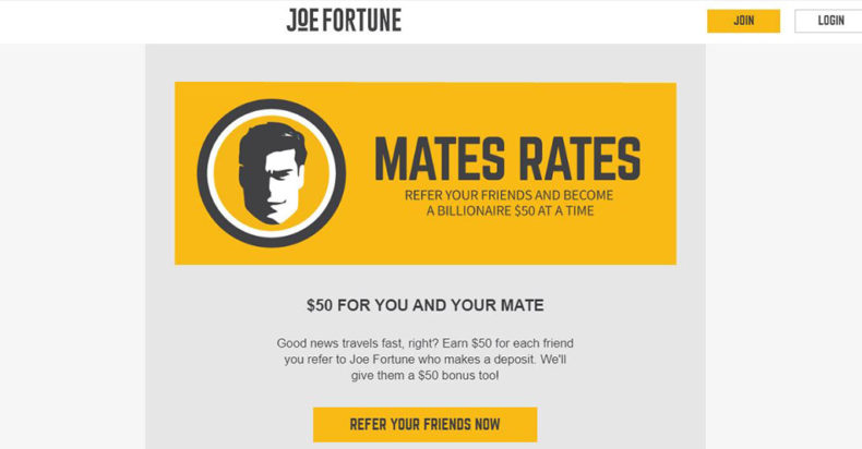 Joe Fortune Casino Screenshot